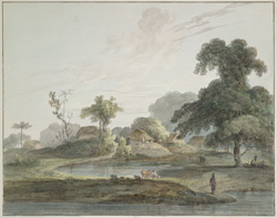Village on the river bank near Hurrodham (Bengal). 10 September 1788